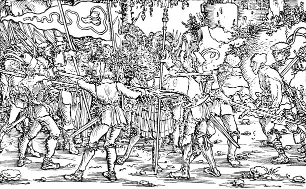 Hard times: an engraving from a scene from the German Peasants' War, Augsburg, 1539