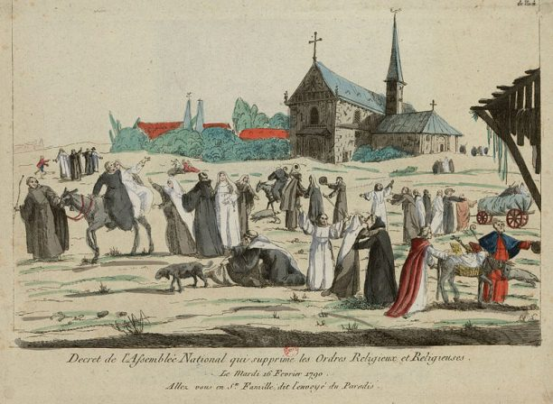 In this caricature, monks and nuns enjoy their new freedom after the decree of 16 February 1790