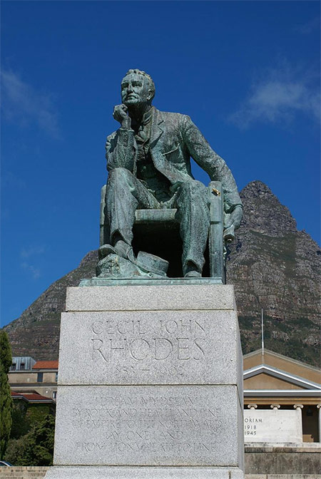 Statue of Rhodes at the University of Cape Town, now removed