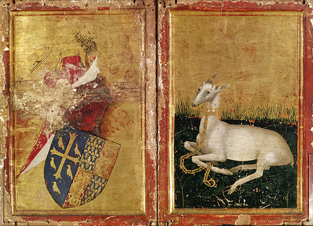 The exterior of the Wilton Diptych depicts Richard II's coat of arms impaled with those of Edward the Confessor. Opposite, the king's grieving white hart sits on a bed of rosemary.