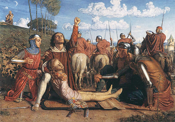 Rienzi vowing to obtain justice for the death of his young brother, slain in a skirmish between the Colonna and the Orsini factions. By William Holman Hunt, 1848-9.