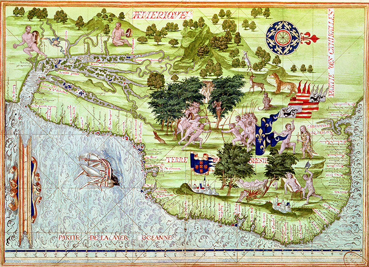 Map of Brazil from Cosmographie Universelle by Guillaume le Testu, 1555
