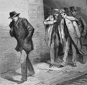 "One of a series of images from the Illustrated London News for October 13, 1888 carrying the overall caption, ""With the Vigilance Committee in the East End"". This specific image is entitled ""A Suspicious Character""."