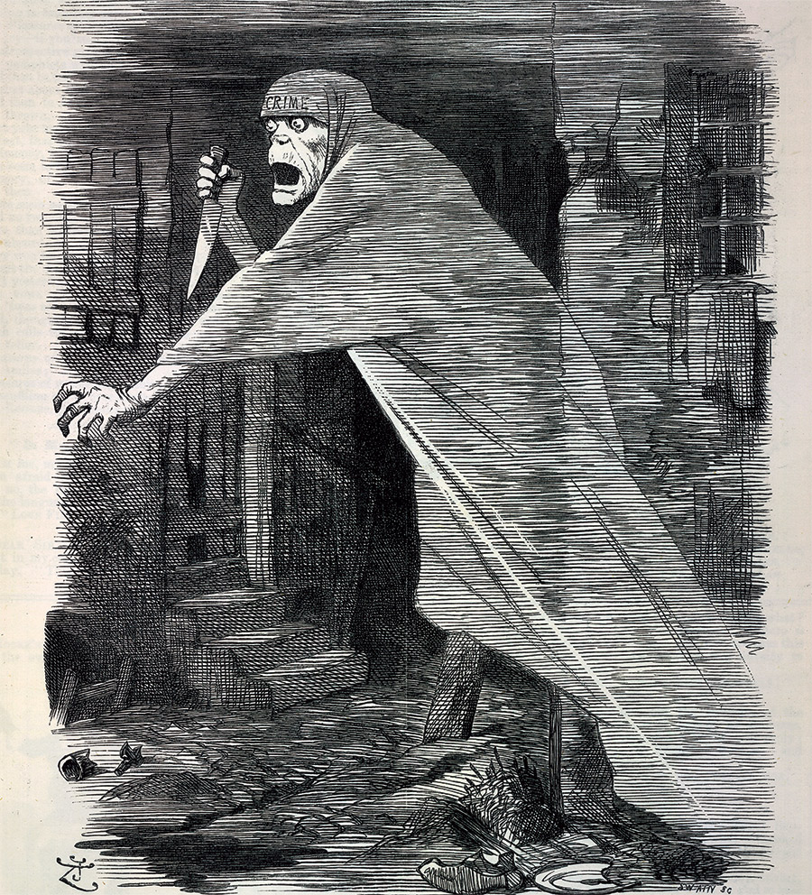 'A phantom on the slum's foul air': 'The Nemesis of Neglect', Punch,  29 September 1888. (Bridgeman Images/British Library)