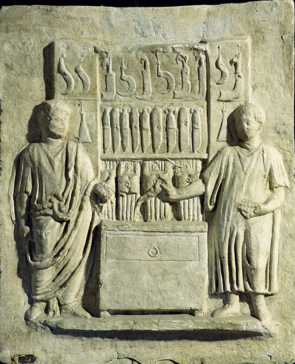 The gravestone of a Roman cutler with a relief of a shop selling knives and sickles, second century AD. Bridgeman/Museo della Civilta Romana, Rome
