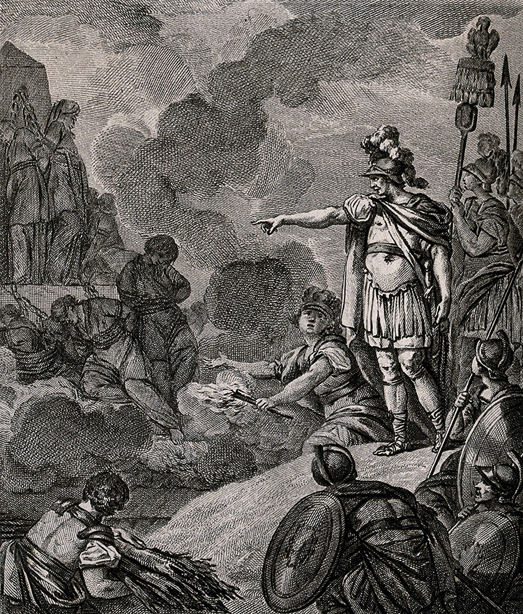 A Roman soldier orders the burning of the druids. Etching by David after Monet.