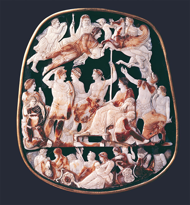 The Great Cameo of France was carved in the reign of Tiberius, AD c.23, and shows him enthroned, while Augustus, veiled and crowned, floats above. Bridgeman/Bibliotheque Nationale, Paris