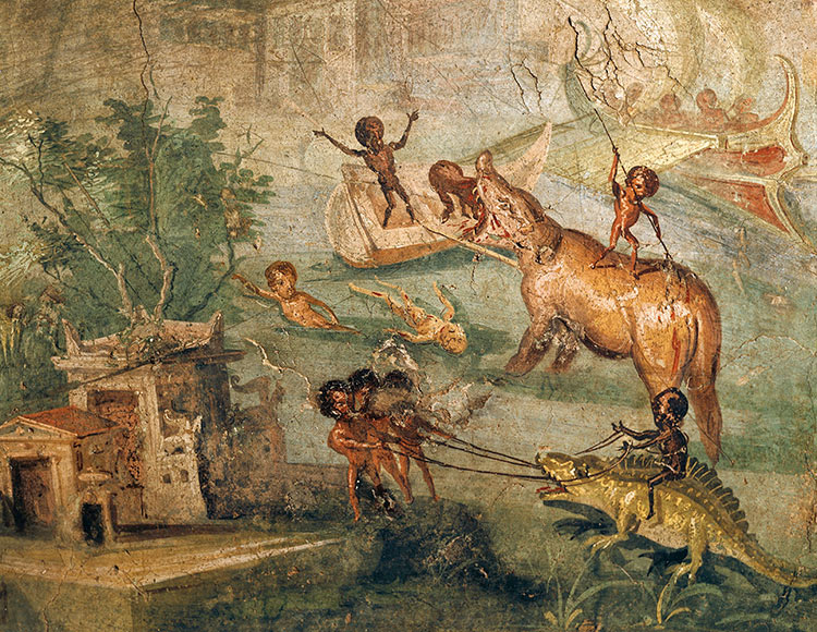 Detail of a Roman fresco from Pompeii, showing a Nilotic landscape with pygmies, first century AD.