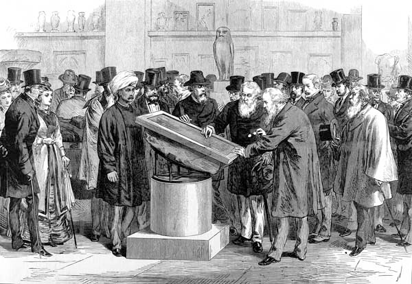 Experts inspecting the Rosetta Stone during the Second International Congress of Orientalists, 1874