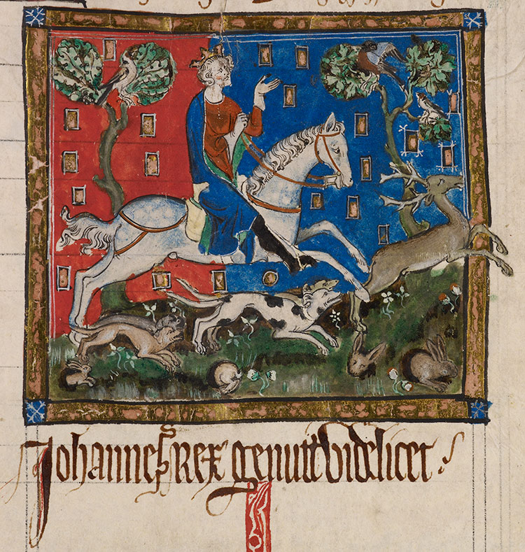 King John hunting a stag with hounds, contemporary image.