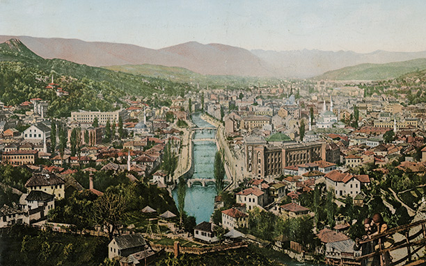 A photograph from the early 1900s of Sarajevo taken from the east. Getty Images/Popperfoto