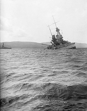 SMS Bayern sinking by the stern