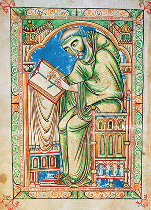 Word of God: Eadwine, the monk, at work on the manuscript of his Psalter, c.1150. Bridgeman/Trinity College Cambridge