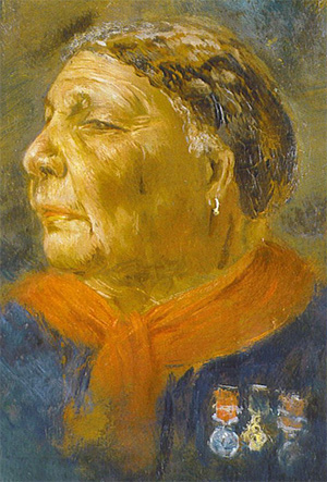 Portrait of Mary Seacole wearing medals (never awarded to her) of the British Crimea, the Turkish Medjidie and the Légion d'honneur, 1869