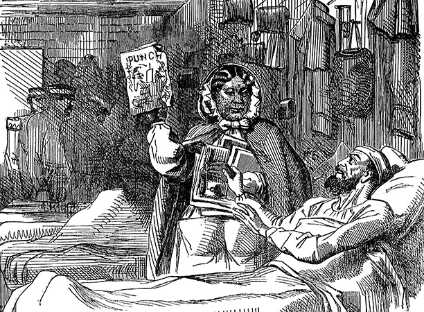 In May 1857 Punch mocked Seacole's worthiness for a fund in her name. 'Our Own Vivandière' shows her, misleadingly, with a wounded soldier in hospital.
