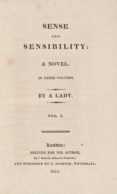 Title page of the first edition of Jane Austen's 'Sense and Sensibility'. Google Images