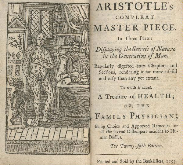 Frontispiece to a 1749 copy of Aristotle's Compleat Master-Piece, a  traditional guide to