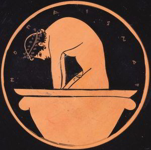Detail from Attic red-figure cup c.500 BC, inscribed: 'the boy, yes the boy is beautiful'. Image: Bridgman / Fitzwilliam Museum, University of Cambridge
