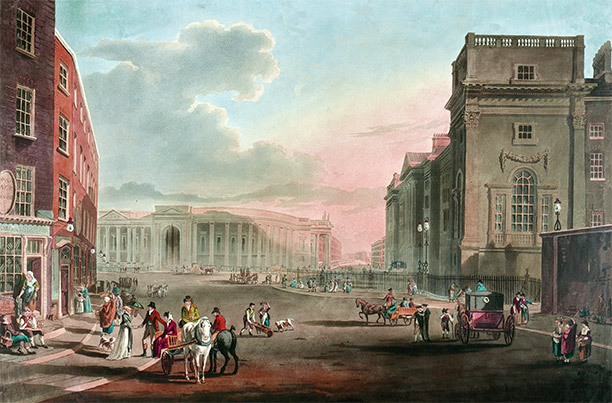 College Green, Dublin in 1807. National Library of Ireland