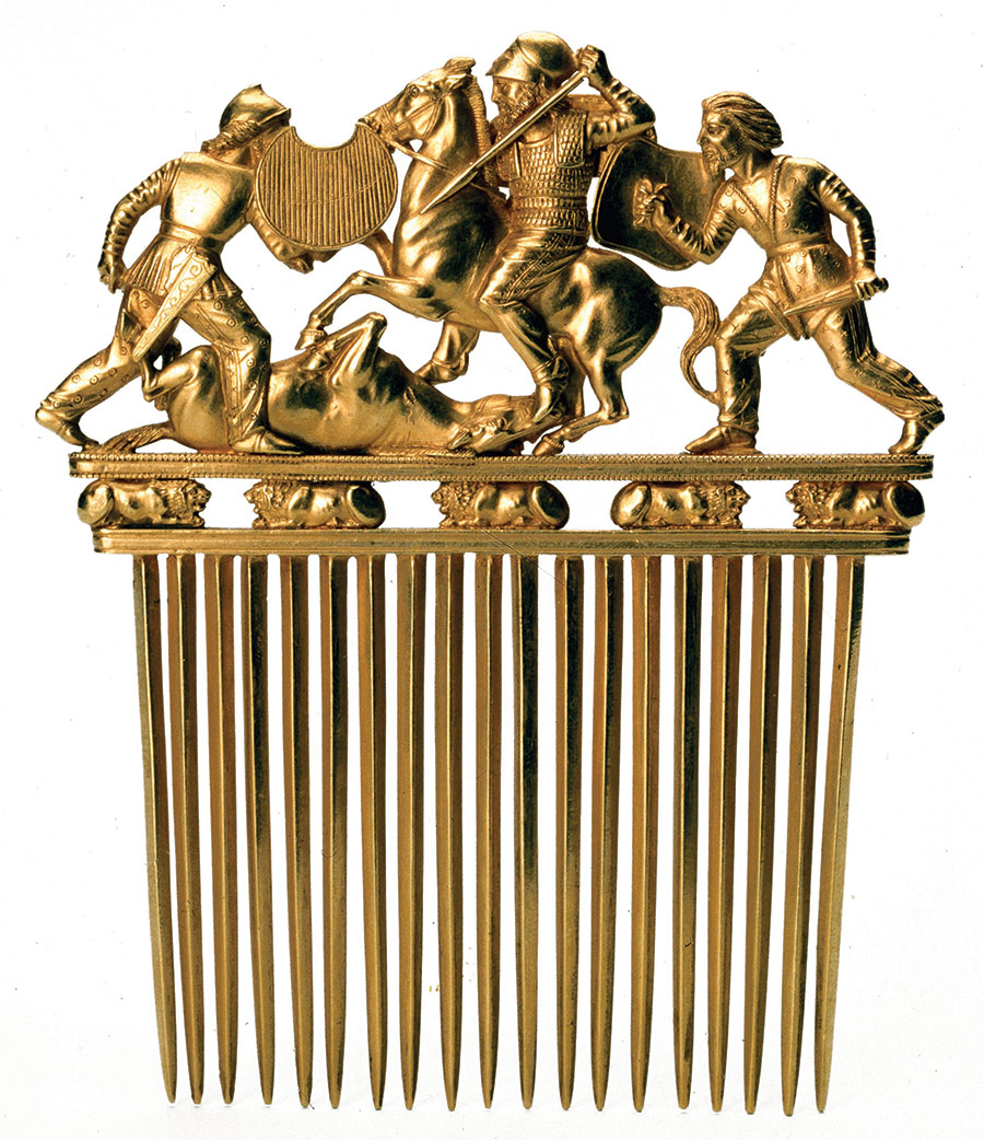 Gold comb depicting Scythians in combat, sixth-fourth centuries BC.