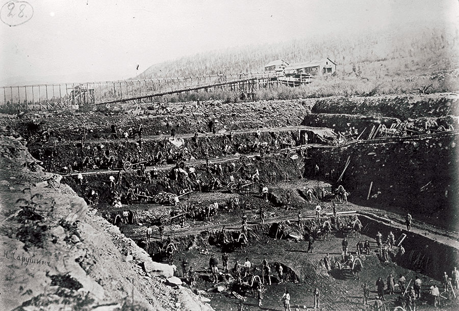 Gold mining settlement in eastern Siberia, 1920.