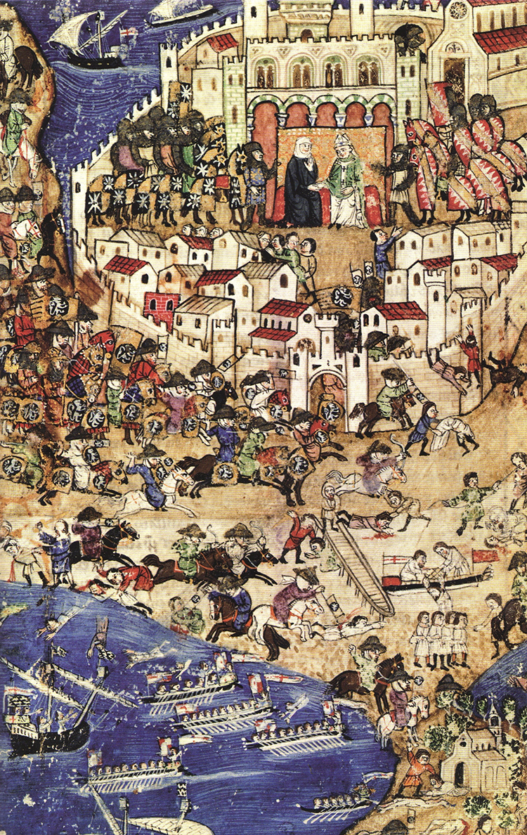 Mamluks attacking at the Fall of Tripoli in 1289.