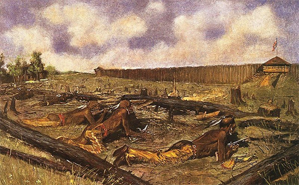 The Siege of the Fort at Detroit, depiction of the 1763 Siege of Fort Detroit by Frederic Remington.