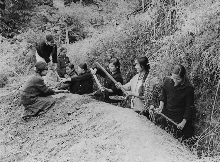 Children from the Paljor Namgyal Girls' School dig trenches against Chinese attack, October 1965.