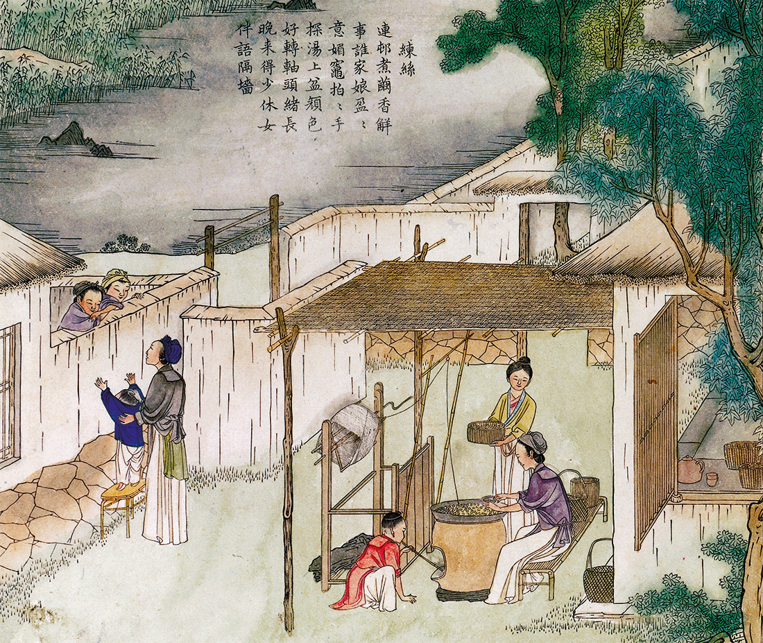 Silk spinning, Chinese illustration, dated 1696.