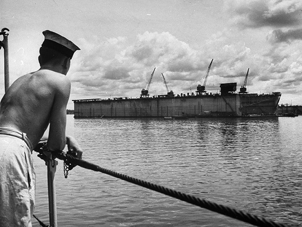 The floating dry docks at Singapore naval base, 1941, shortly before its capitulation to Japanese forces