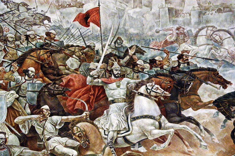 In Charge Skanderbeg Fights The Ottomans Detail From The Memorial Wall Of The National