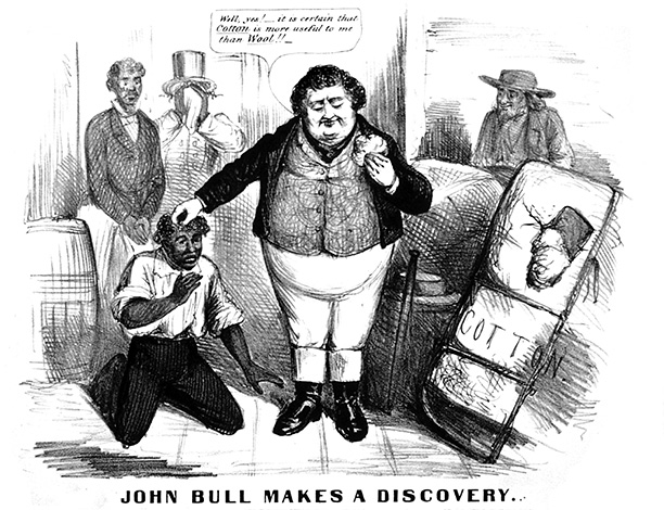 American satire, c. 1863, suggesting Britain might abandon its anti-slavery principles because the Union's civil war blockade threated to cripple Lancashire's cotton industry. Library of Congress