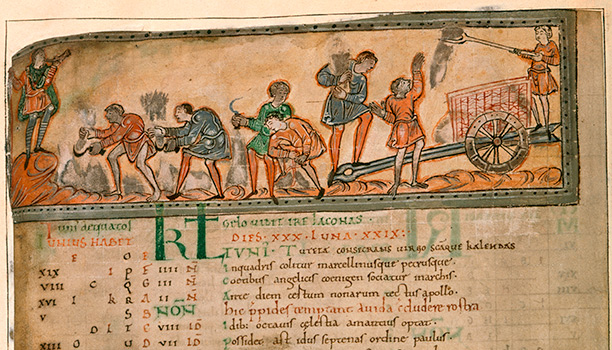Slave labour? A man blows a horn, while four men cut hay with sickles and another holds a wheatsheaf. Eleventh century manuscript.