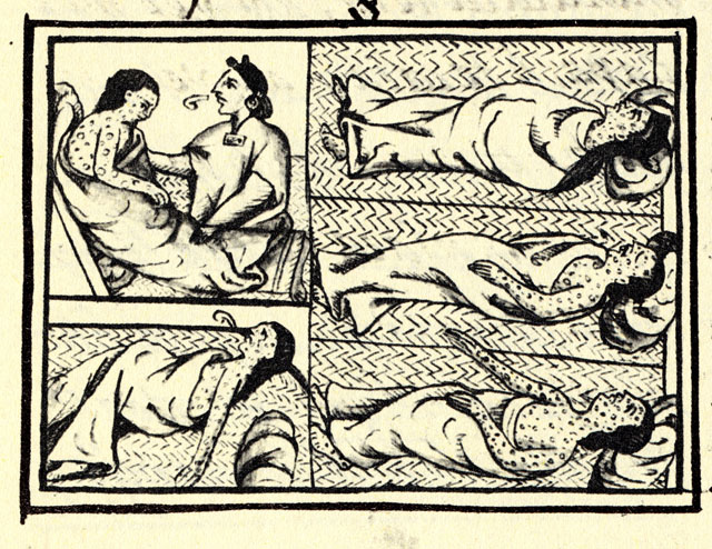 Drawing accompanying text in Book XII of the 16th-century Florentine Codex (compiled 1540–1585), showing Nahuas of conquest-era central Mexico suffering from smallpox.