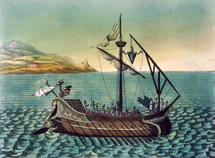 Roman galley from the First Punic War, Jacques Grasset de Saint-Sauveur, c.1825. Bridgeman Images.
