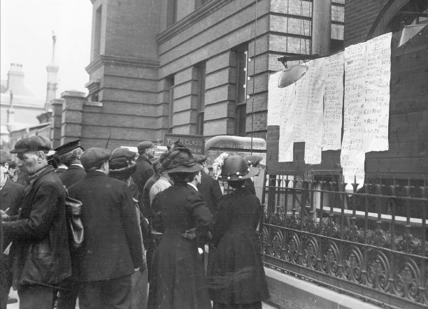 The White Star Line posted lists of survivors outside its Southampton office, where 'Women sobbed aloud, while tears glistened in the eyes of rough and hardy sea-faring men'