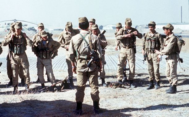 A Soviet Spetsnaz (special operations) group prepares for a mission in Afghanistan, 1988. Photo by Mikhail Evstafiev