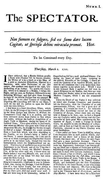 The first issue of The Spectator, March 1st, 1711