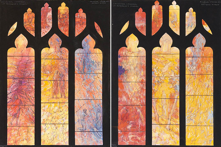 Designs by Tom Denny for the stained glass windows in the Katherine Chapel of Leicester Cathedral.