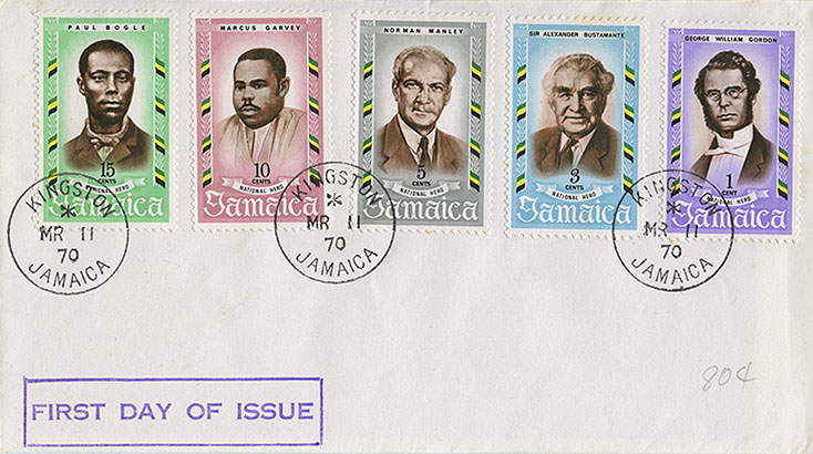 First day of issue National Hero stamps, 1970.