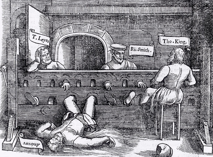 Prisoners in the stocks in Lollards Tower, from Foxe's Acts and Monuments, 1563.