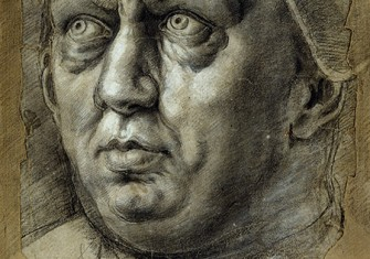 Head of Pope Leo X by Giulio Romano, 16th century. ollection of the Duke of Devonshire, Chatsworth House/Bridgeman Images