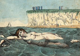 A woman swimming in the sea in Margate, Kent, Thomas Rowlandson, c.1800.