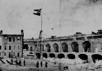 Fort Sumter, 14 April 1861, under the Confederate flag.