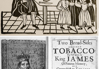 Top: Family Group, early 17th-century English woodcut, Ⓒ Bridgeman Images. Bottom: rontispiece of Two Broad-Sides Against Tobacco, published June 6th, 1672. Ⓒ Bridgeman Images