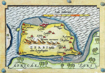 Detail of Djerba from Abraham Ortelius' Map of the Mediterranean, 1570.