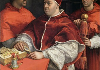 Portraits of Leo X, Cardinal Luigi de Rossi and Giulio de' Medici by Raphael, 1518. © Bridgeman Images.