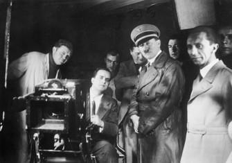 Hitler and Goebbels on the set of Barcarole, 1935.
