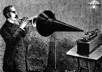 Recording on a phonograph, 1905.