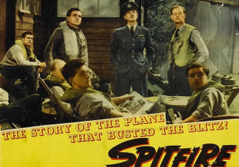 Lobby card for the film 'Spitfire', released in 1943 in the US; re-edited from the 1942 British film, 'The First of the Few'.